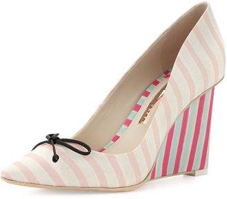 Webster Sophia Lola Striped Wedge Pump, Pale Pink