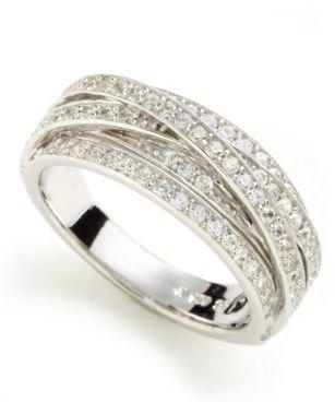 Crislu Platinum Over Sterling Silver Cubic Zirconia Crisscross Ring