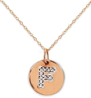 Lord & Taylor 14 Kt. Rose Gold with Diamond-Accented F Necklace