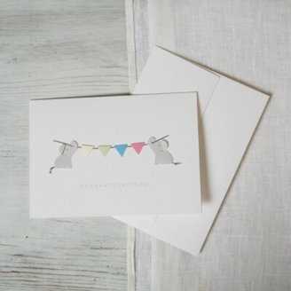 The White Company Elephant Bunting Card, White, One Size