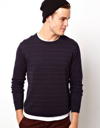 Selected Dotted Knit Crew Neck Sweater