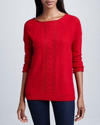 Neiman Marcus Cable Knit & Pointelle Cashmere Top
