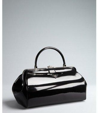 Prada black patent marbled leather top handle bag