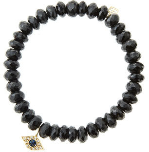 Sydney Evan 8mm Faceted Black Spinel Beaded Bracelet with 14k Yellow Gold/Diamond Small Evil Eye Charm (Made to Order)