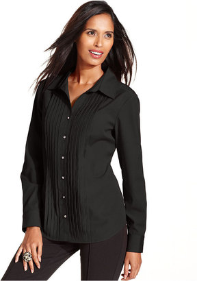 Style&Co. Top, Long-Sleeve Pleated Rhinestone-Button Shirt