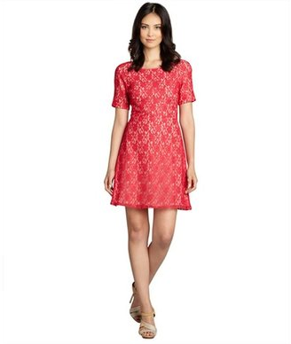 ABS by Allen Schwartz red cotton blend lace short sleeve dress