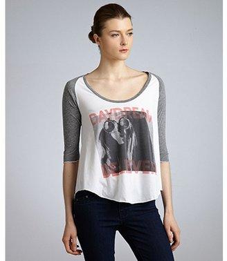 Local Celebrity white cotton blend 'Daydream Believer' scoop neck raglan sleeve t-shirt