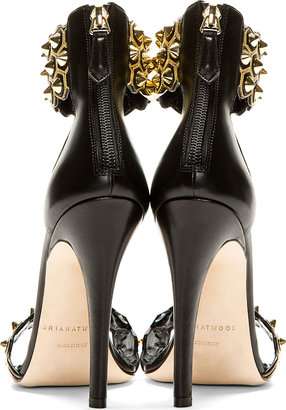 Brian Atwood Black Leather Stud & Chain Embellished Heels
