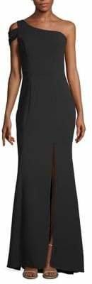 Xscape Evenings One-Shoulder Crepe Gown