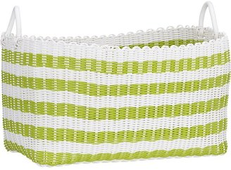 Crate & Barrel Woven Green and White Laundry Basket