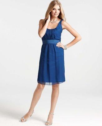 Ann Taylor Silk Georgette Draped Scoop Neck Dress