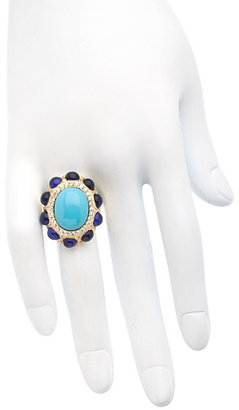 Vivian Jacob Gold Turquoise Cobalt And Crystal Cocktail Ring