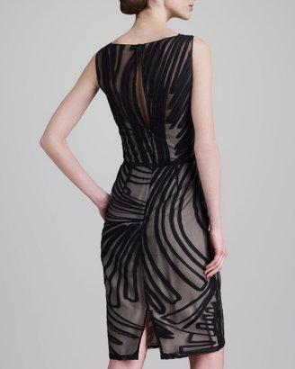 Lela Rose Fil Coupe Boat-Neck Dress, Black