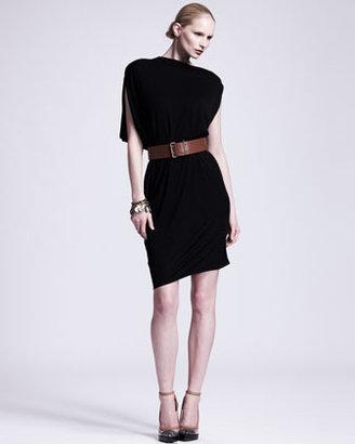 Lanvin Asymmetric Draped Jersey Dress