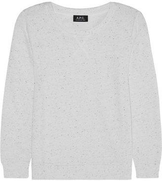 A.P.C. Atelier de Production et de Création Flecked cotton-blend sweatshirt