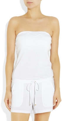 Juicy Couture Strapless cotton-blend terry playsuit