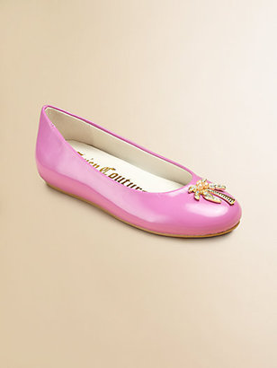 Juicy Couture Girl's Rae Patent Leather Hidden Wedge Ballerina Flats