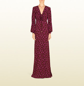 Gucci Heartbeat Print Silk Cross Front Gown