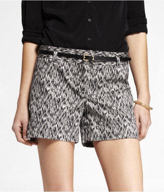 Express 4 1/2 Inch Belted Ikat Print Stretch Cotton Shorts
