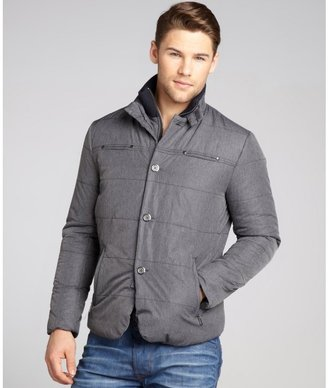 Report Collection grey quilted removable bib button front coat