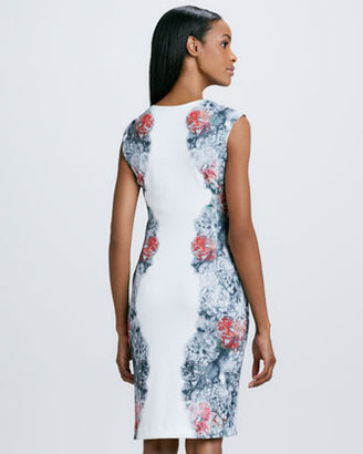 Kay Unger New York Floral-Print Paneled Cocktail Dress
