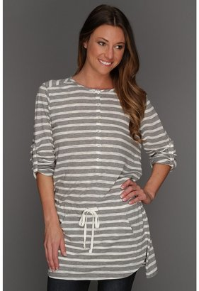 Vince Camuto TWO by Striped Henley Tunic (Antique White) - Apparel
