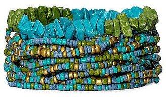 JCPenney Aqua & Green Bead Multi-Row Stretch Bracelet