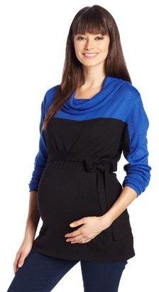 Olian Women's Maternity Cowl Neck Sweater with Tie Belt