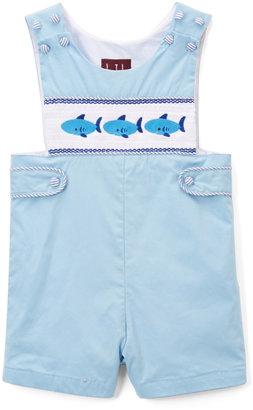 Light Blue Whale Smocked Shortalls - Infant & Toddler