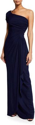 Chiara Boni Aleksandrina One-Shoulder Column Gown