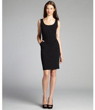 Magaschoni black stretch wool sleeveless scoop neck pintuck dress