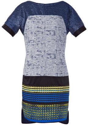 Prabal Gurung Preorder Light Blue Metallic Tweed Combo T-Shirt Dress