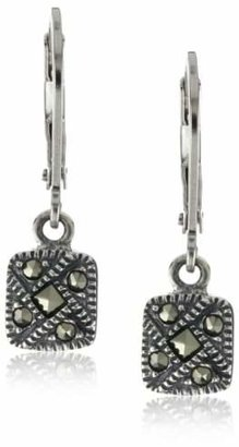 Judith Jack Sterling Silver Marcasite Square Drop Earrings $50 thestylecure.com