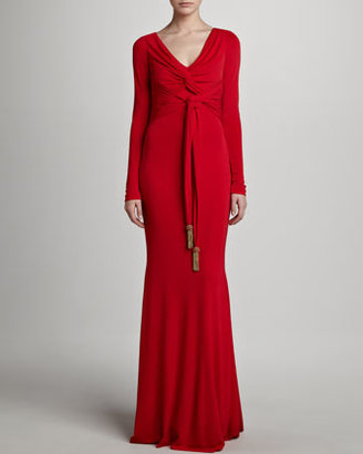 Badgley Mischka Long-Sleeve Gown, Red