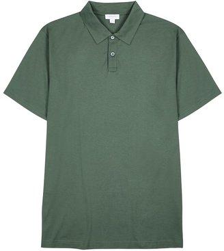 Sunspel Forest Green Cotton Polo Shirt