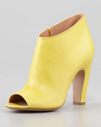 Maison Martin Margiela Leather Peep-Toe Ankle Boot, Yellow