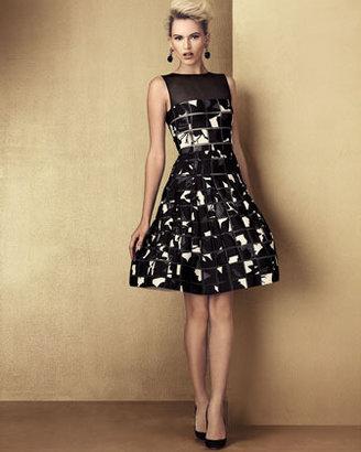 Oscar de la Renta Square Cutout Patterned Dress, Black/White