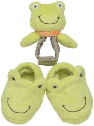 Carter's frog bootie & rattle set