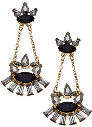 Blu Bijoux Grey and Black Crystal and Chain Chandelier Earrings