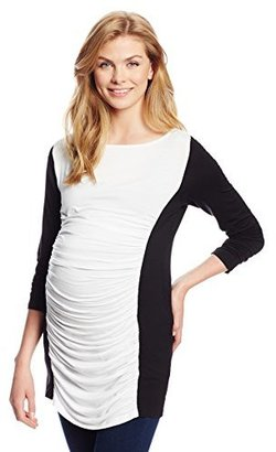 Olian Women's Maternity Ruched Colorblock Shirt