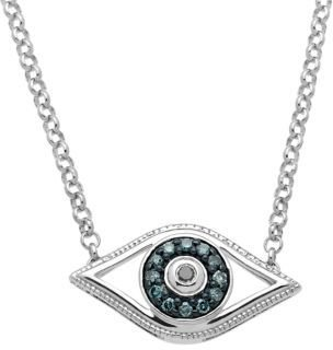 Lord & Taylor Sterling Silver Evil Eye Pendant Necklace with Green & Black Diamonds