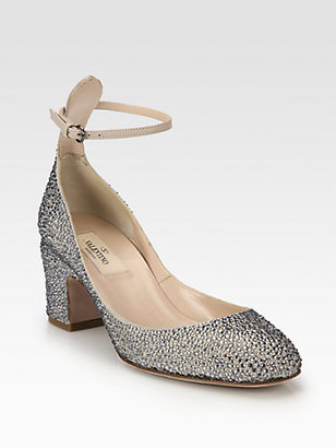 Valentino Crystal-Coated Suede Ankle Strap Pumps