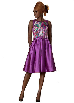 Theia Floral Fit-and-Flare Dress