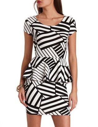 Charlotte Russe Bow-Back Geometric Print Peplum Dress
