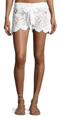 Letarte Crochet Tie-Waist Shorts, White $148 thestylecure.com