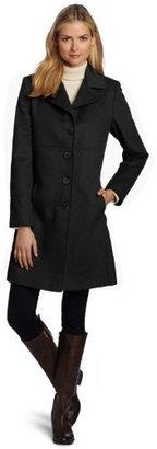 Larry Levine Women's Luxurious Wool Classic Notch Collar Reefer Coat