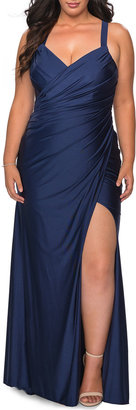 La Femme Plus Size Sleeveless Ruched Jersey Column Gown