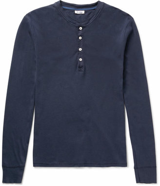 Long-Sleeved Cotton-Jersey Henley T-Shirt $85 thestylecure.com