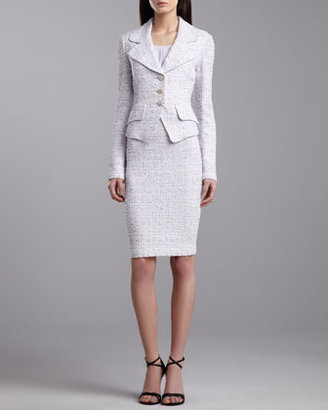 St. John Tweed Knit Fitted Jacket, Lilac/Multicolor