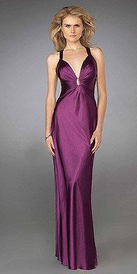 La Femme Purple Elegant Rhinestone Dresses
